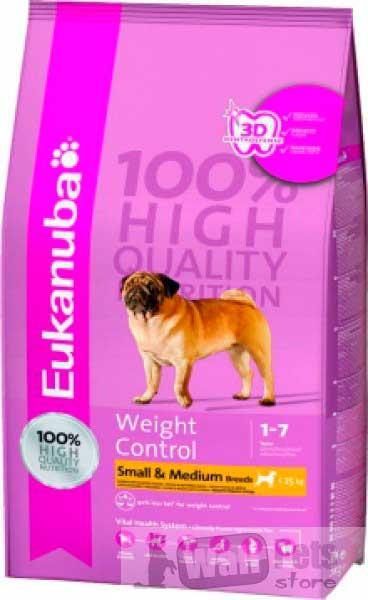 Eukanuba Dog Adult Weight Control Small & Medium для собак мелких и средних пород для контроля веса