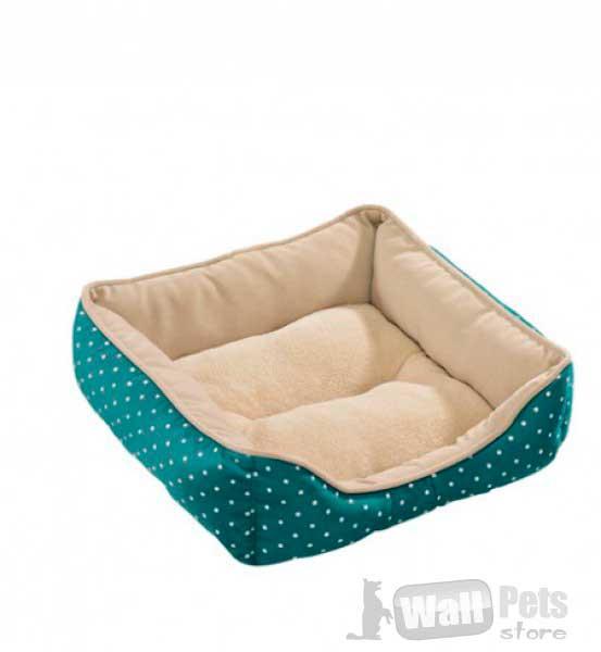 Лежак-софа для собак и кошек в горох синий цвет