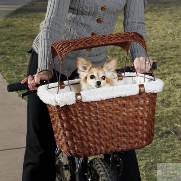 Плетеная вело корзина для собак