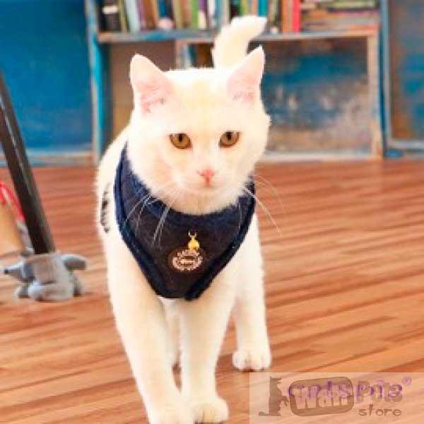 Шлейка для кошек с меховой отделкой