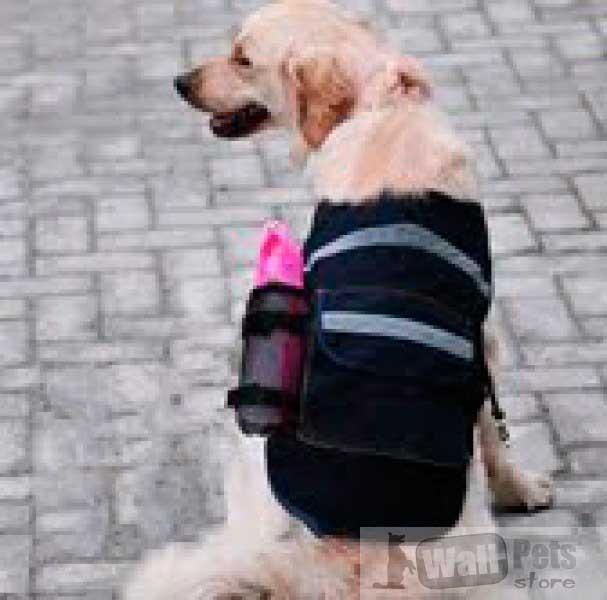Шлейка для собак джинсовая с карманами