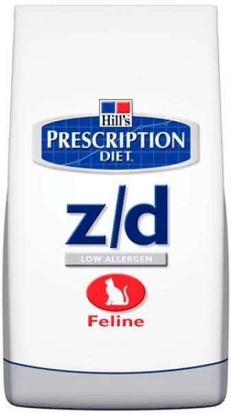 Хиллс корм z/d для лечение острых пищевых аллергией