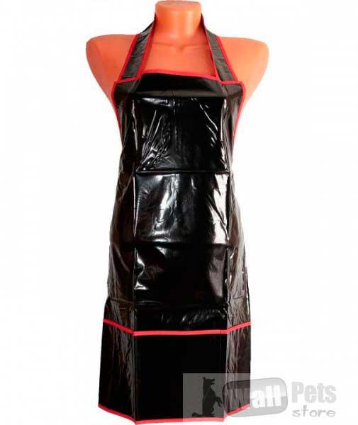Фартук черный с красной окантовкой для груминга