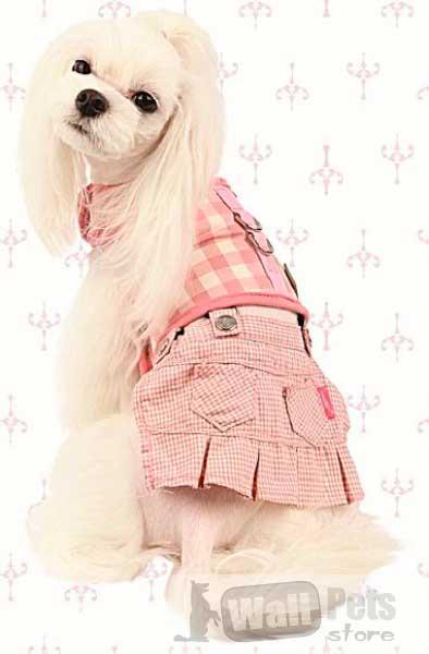 Шлейка для собак и юбка в клетку