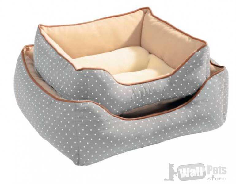 Лежак- софа в горох для собак и кошек серая в горох