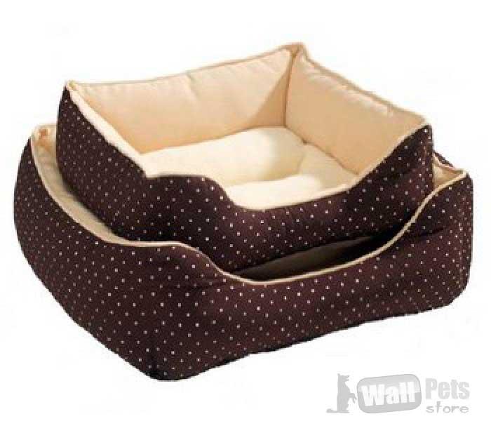 Hunter софа для собак и кошек White Dots  коричневая в горох